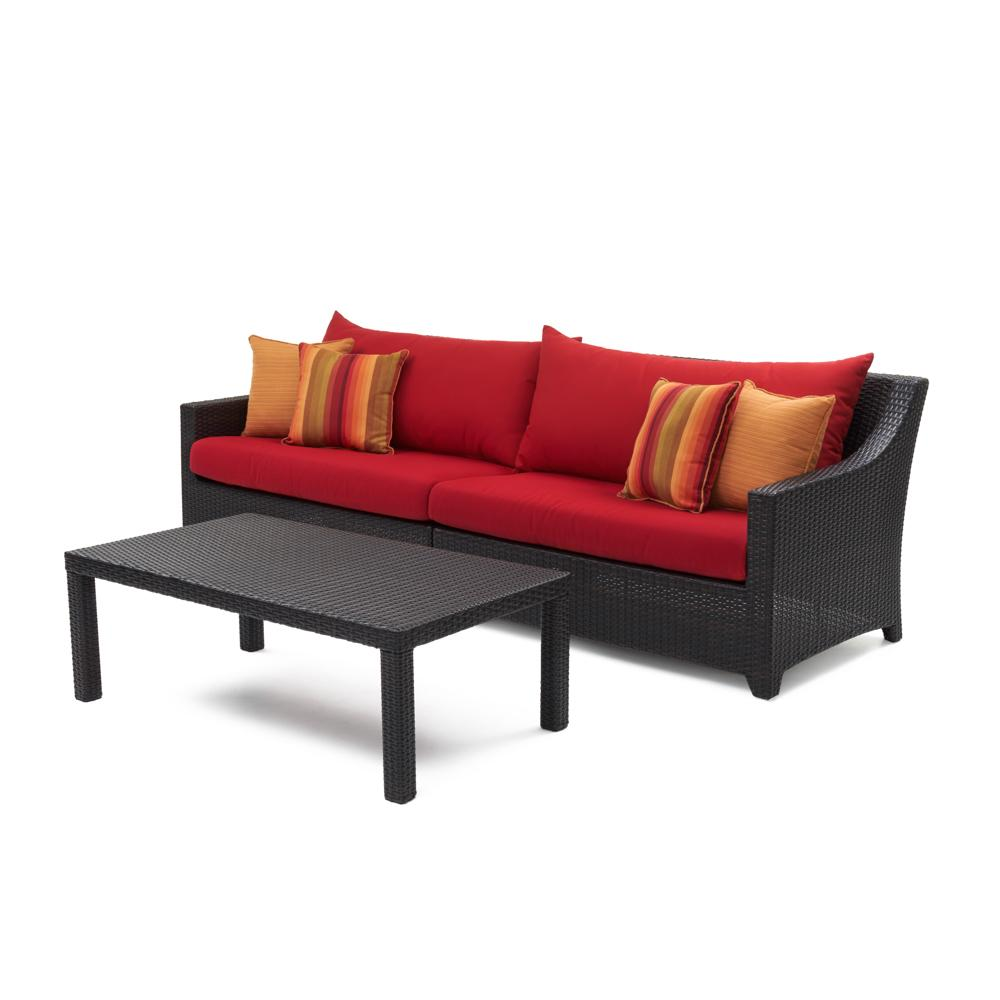 Deco Sofa with Coffee Table - Sunset Red