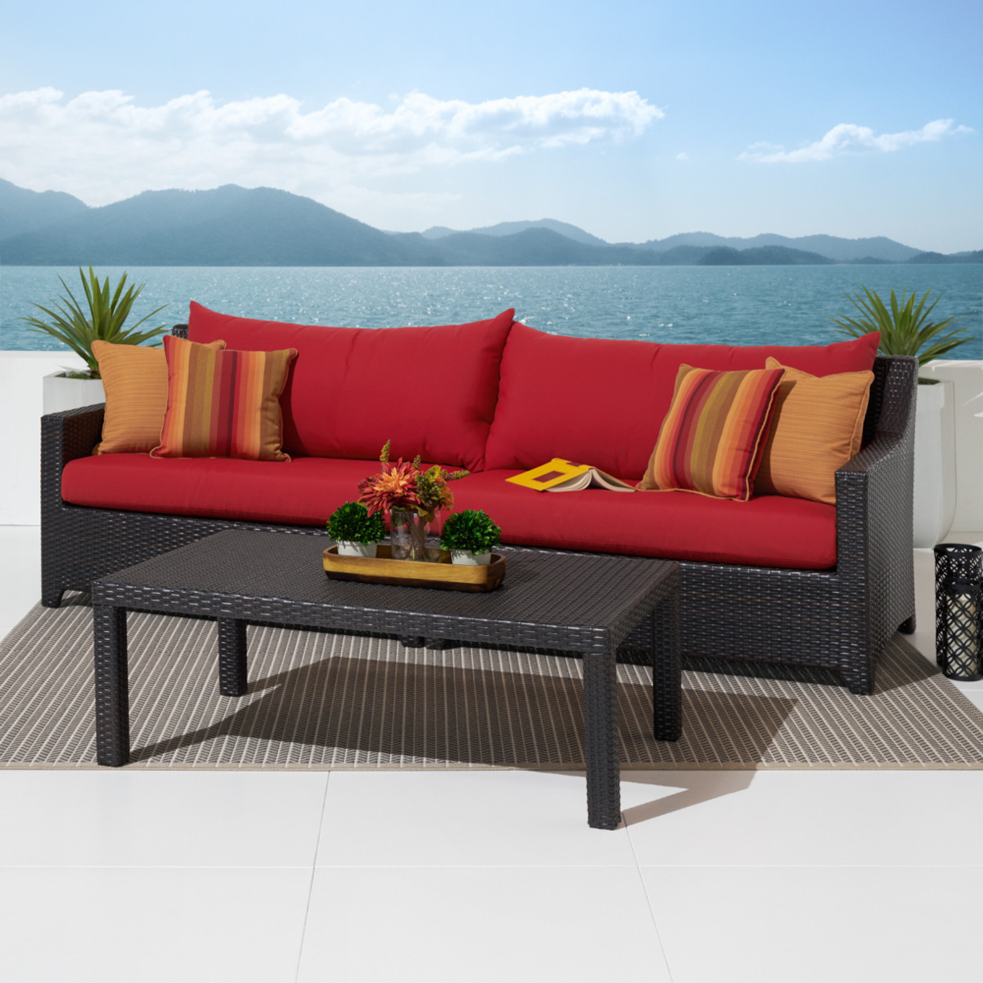 Deco™ Sofa & Coffee Table - Sunset Red