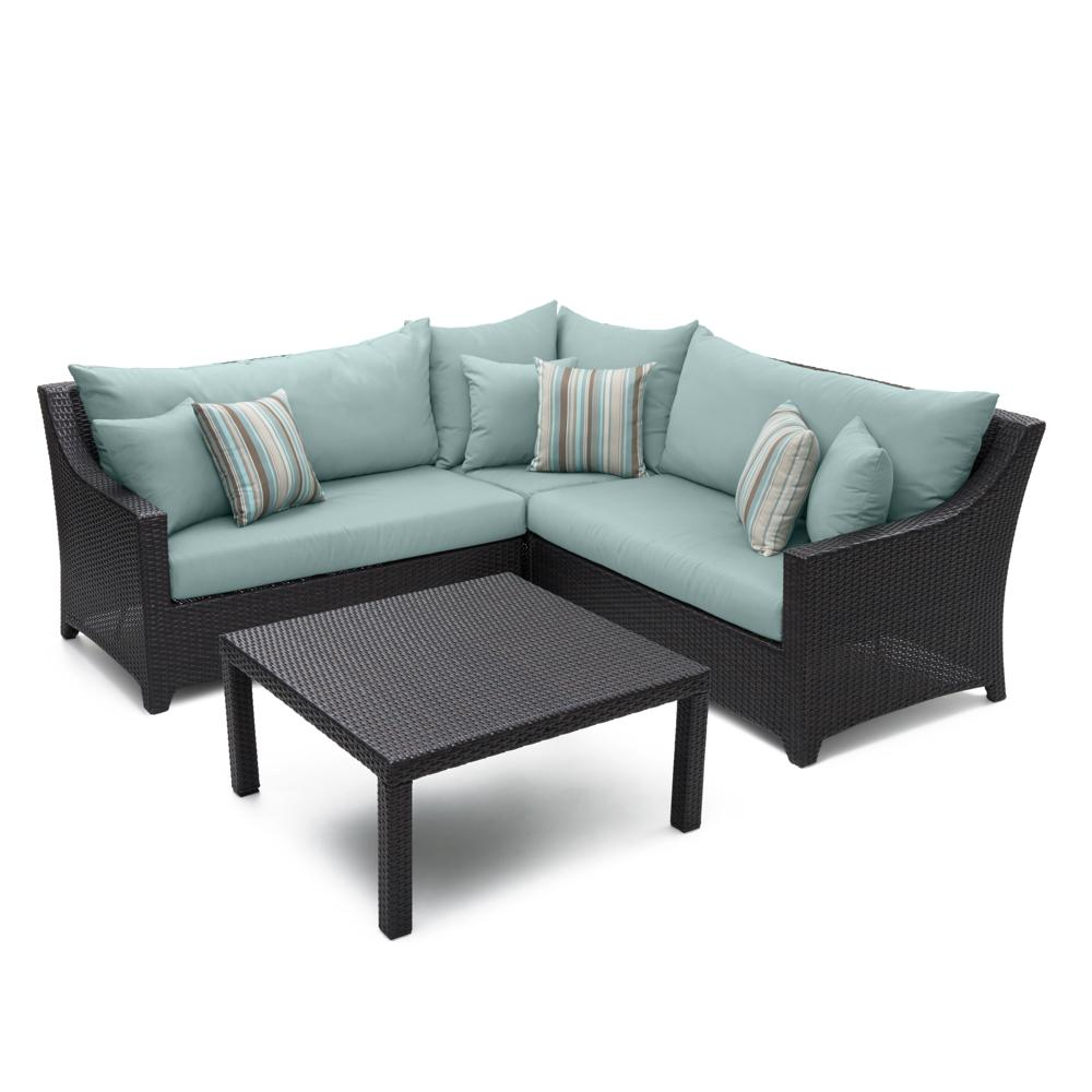 Deco 4pc Sectional & Table - Bliss Blue