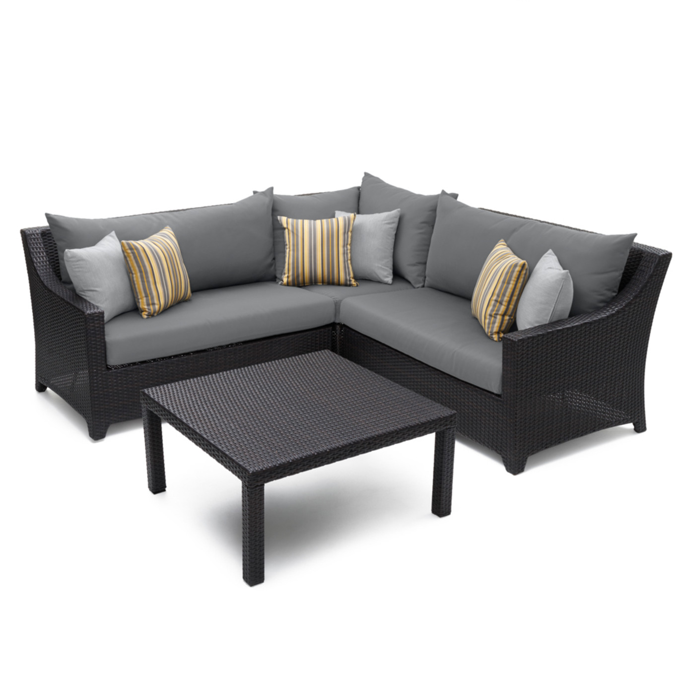 Deco™ 4 Piece Sectional and Table - Charcoal Gray