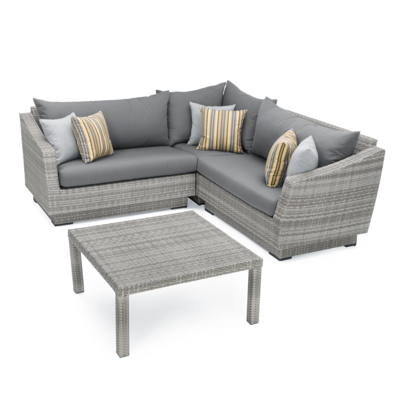 Cannes 4pc Sectional Amp Table Charcoal Grey Rst Brands