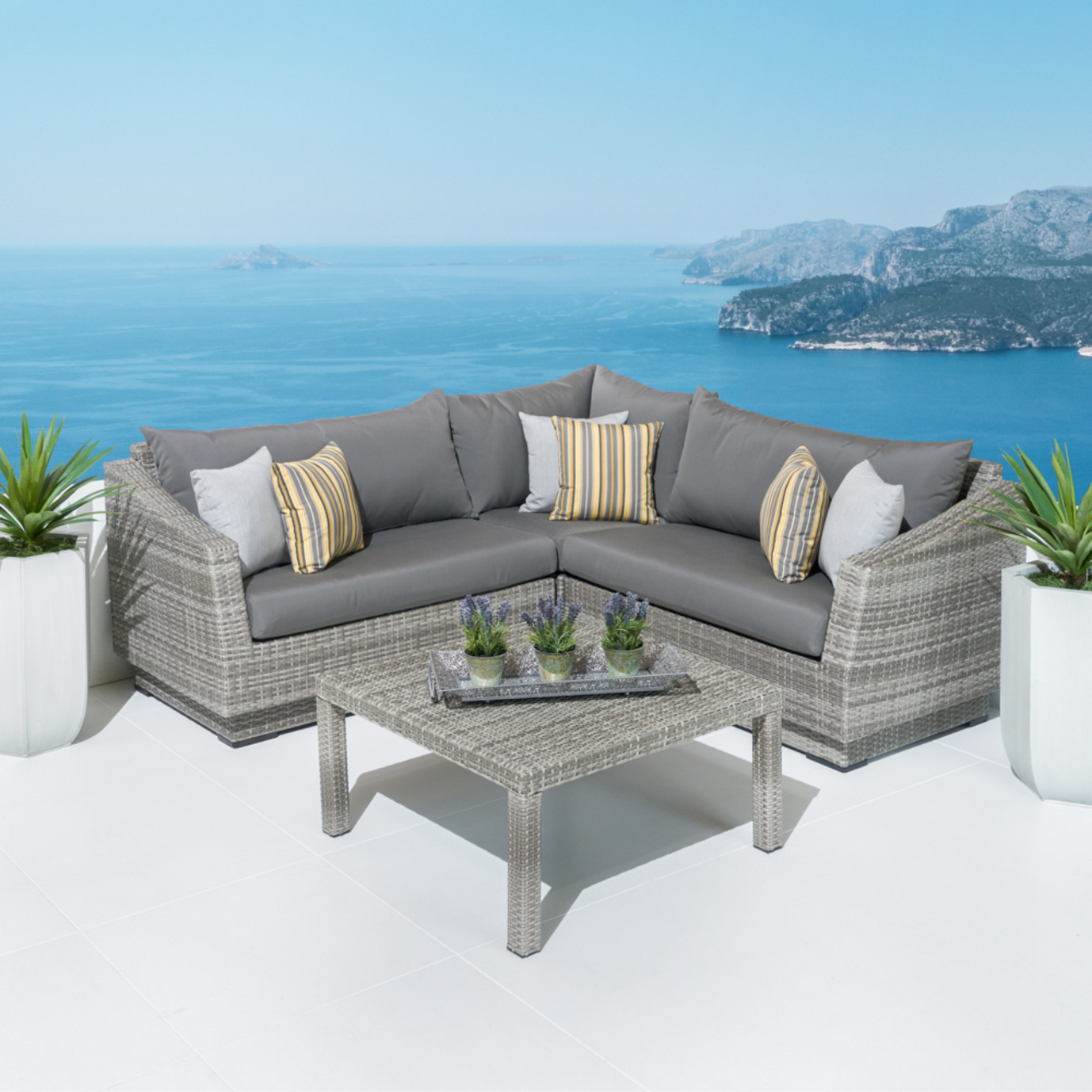 Cannes™ 4 Piece Sectional & Table - Charcoal Gray