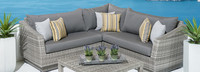 Cannes™ 4 Piece Sectional & Table - Cast Coral