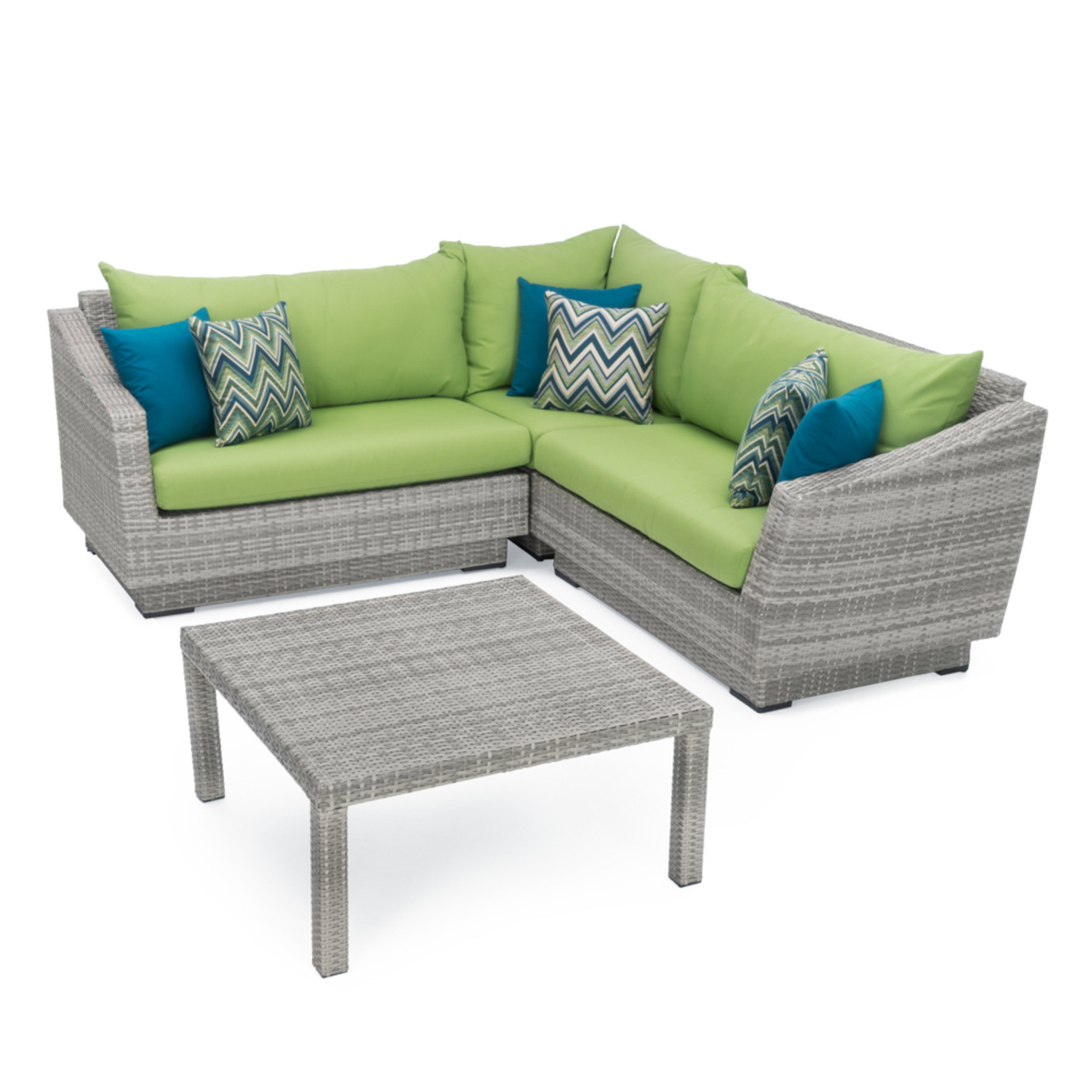 Cannes™ 4 Piece Sectional & Table - Ginkgo Green