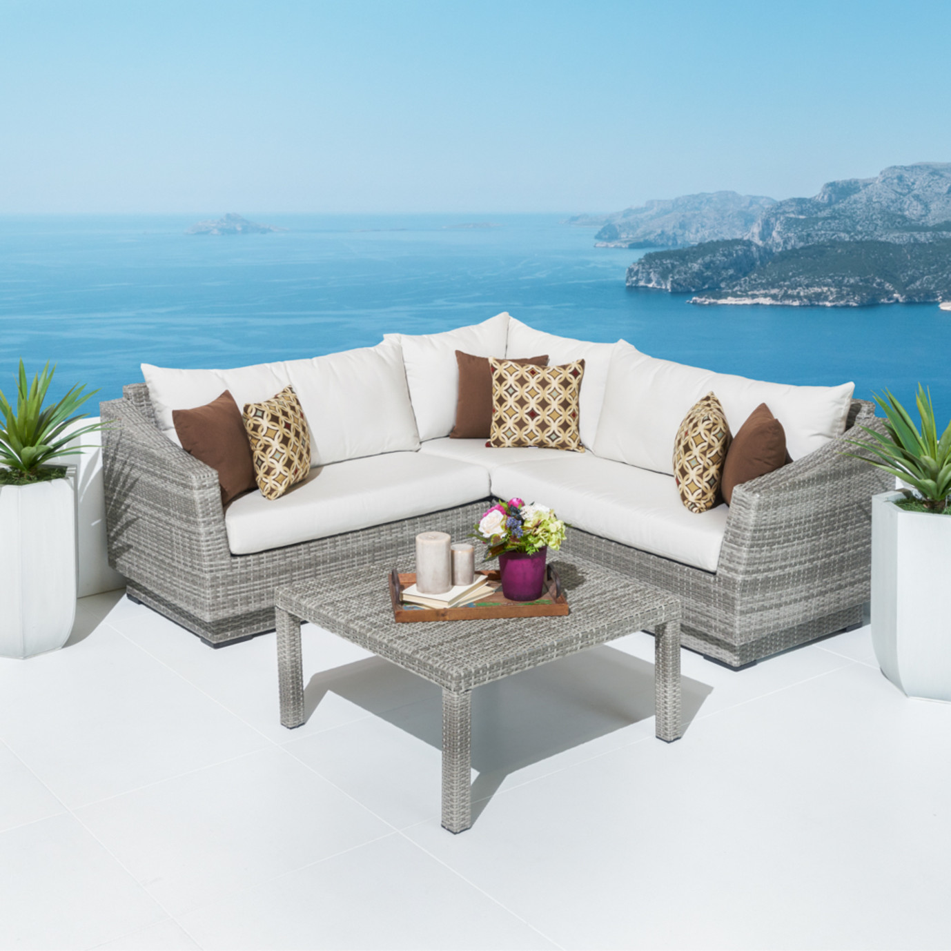 Cannes™ 4pc Sectional & Table - Moroccan Cream