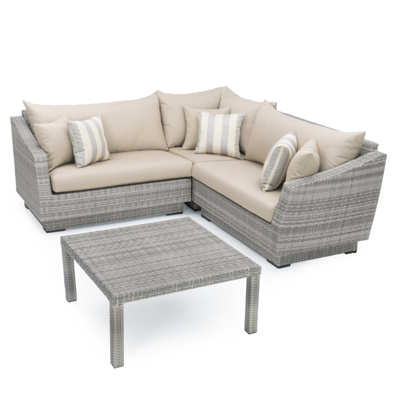 Cannes™ 4pc Sectional & Table - Slate Gray