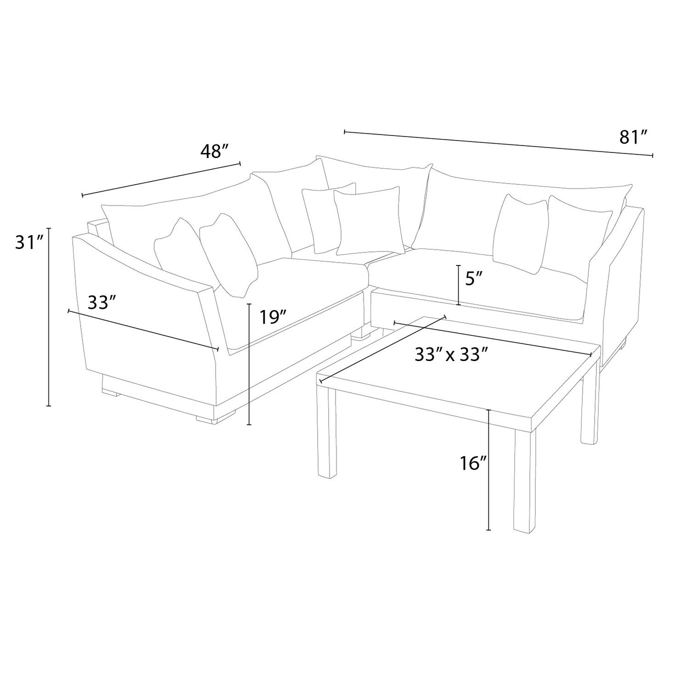 Cannes™ 4 Piece Sectional & Table - Slate Gray