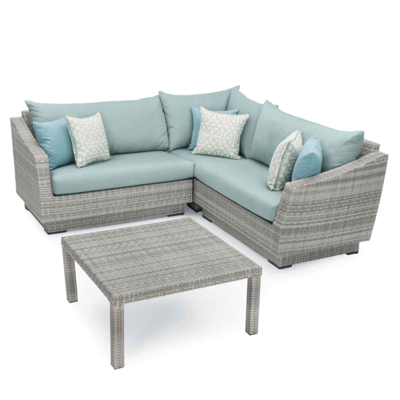 Cannes™ 4pc Sectional & Table - Spa Blue