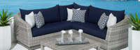 Cannes™ 4 Piece Sectional & Table - Sunset Red