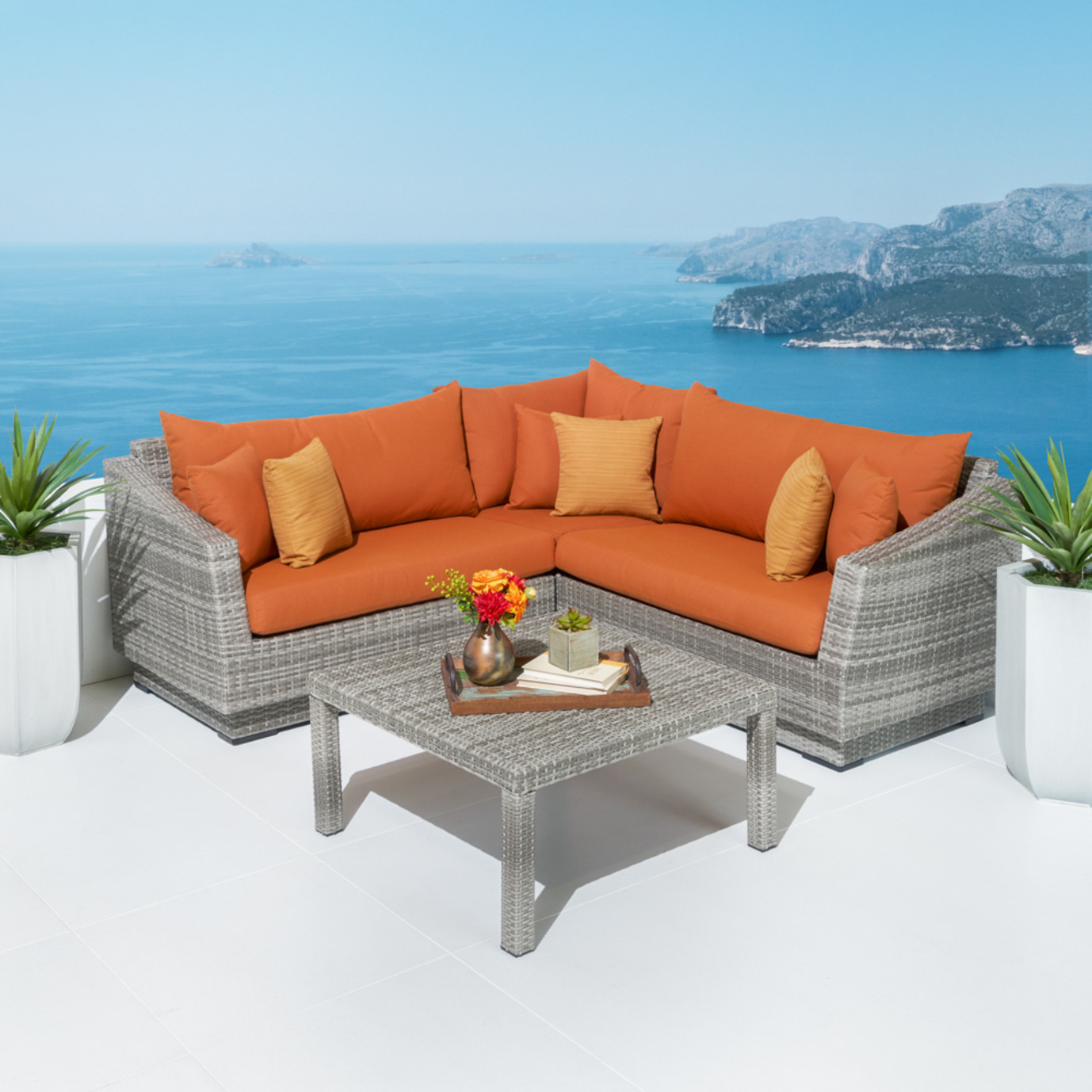 Cannes™ 4pc Sectional & Table - Tikka Orange