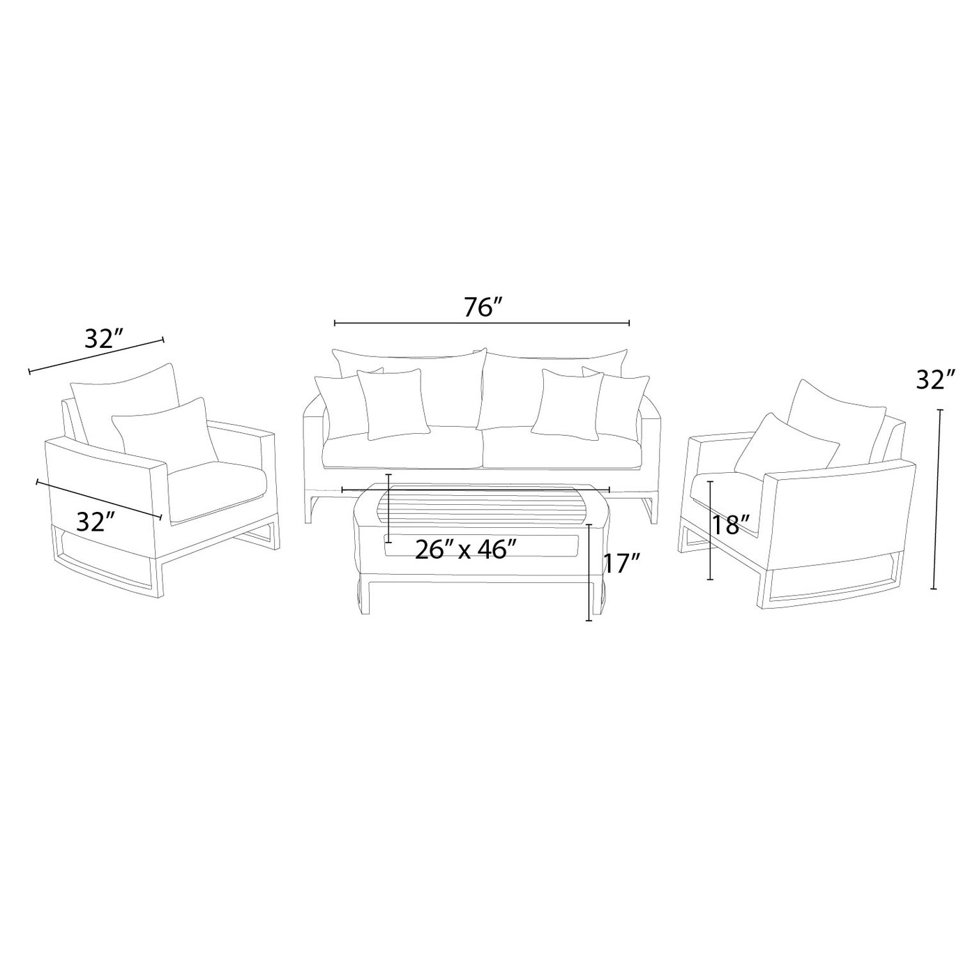 Mili™ 4pc Seating Set - Spa Blue