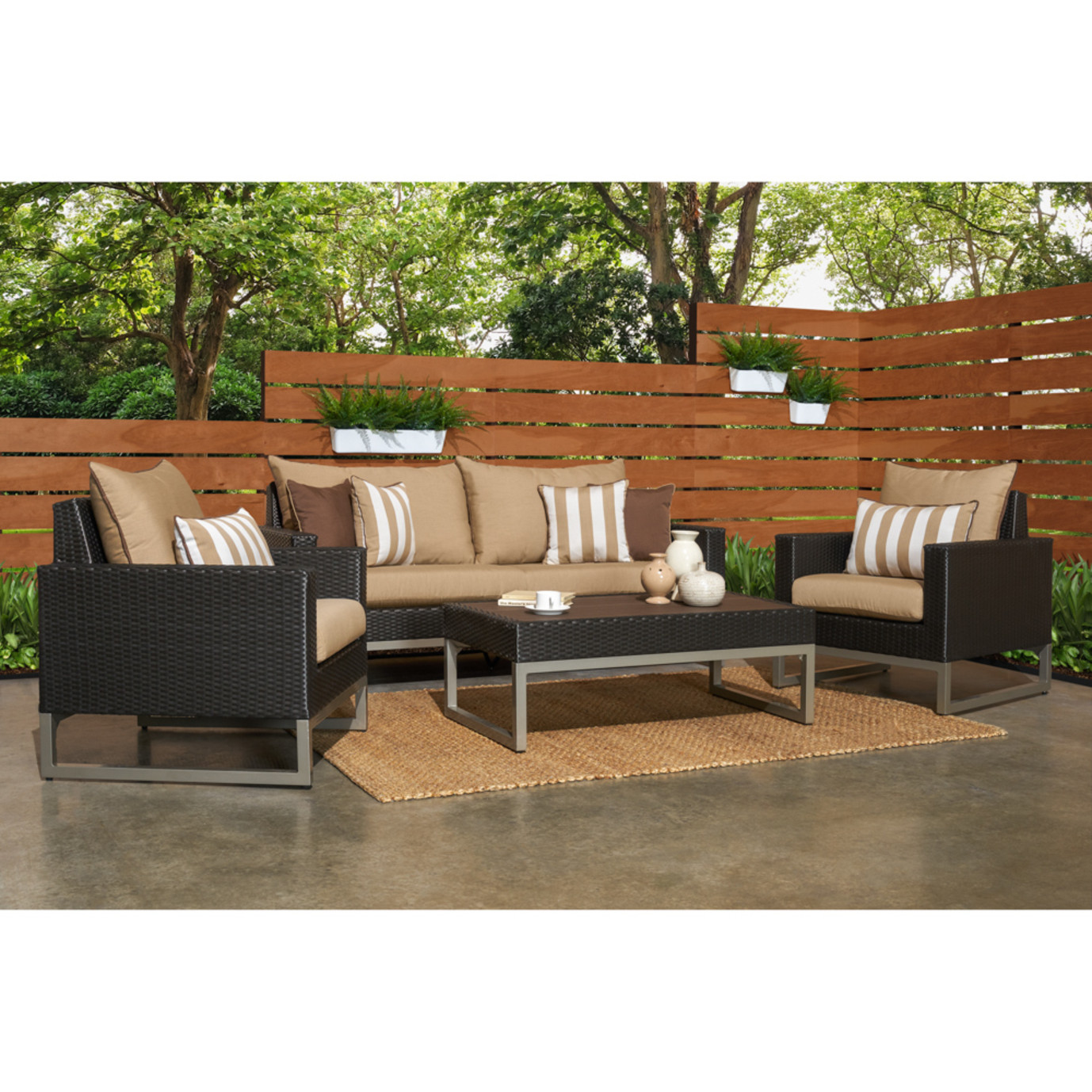 Milo™ Espresso 4 Piece Seating Set - Maxim Beige