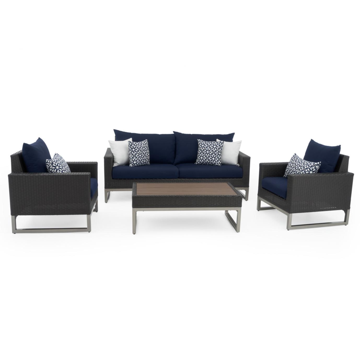 Milo™ Espresso 4 Piece Seating Set - Navy Blue
