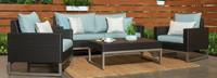 Milo™ Espresso 4 Piece Seating Set - Spa Blue