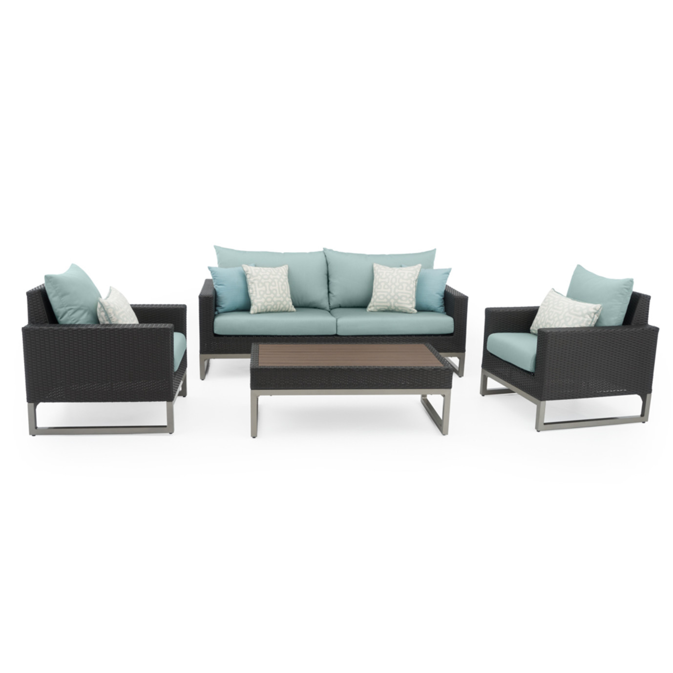 Milo™ Espresso 4pc Seating Set - Spa Blue