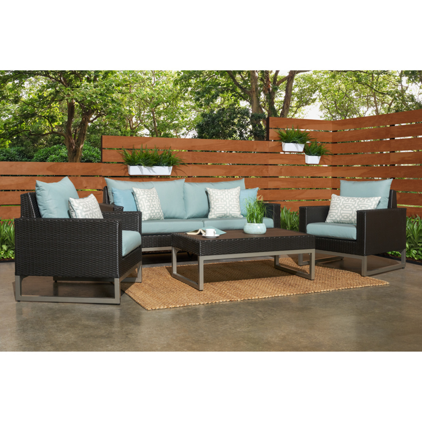 Milo™ Espresso 4pc Seating Set - Spa Blue
