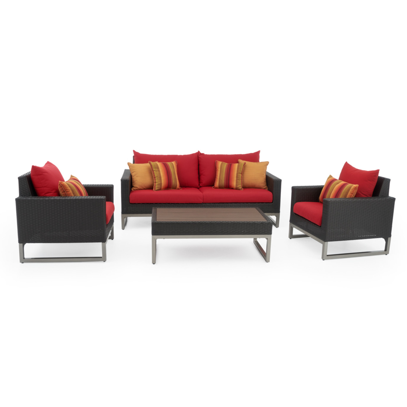Milo™ Espresso 4 Piece Seating Set - Sunset Red