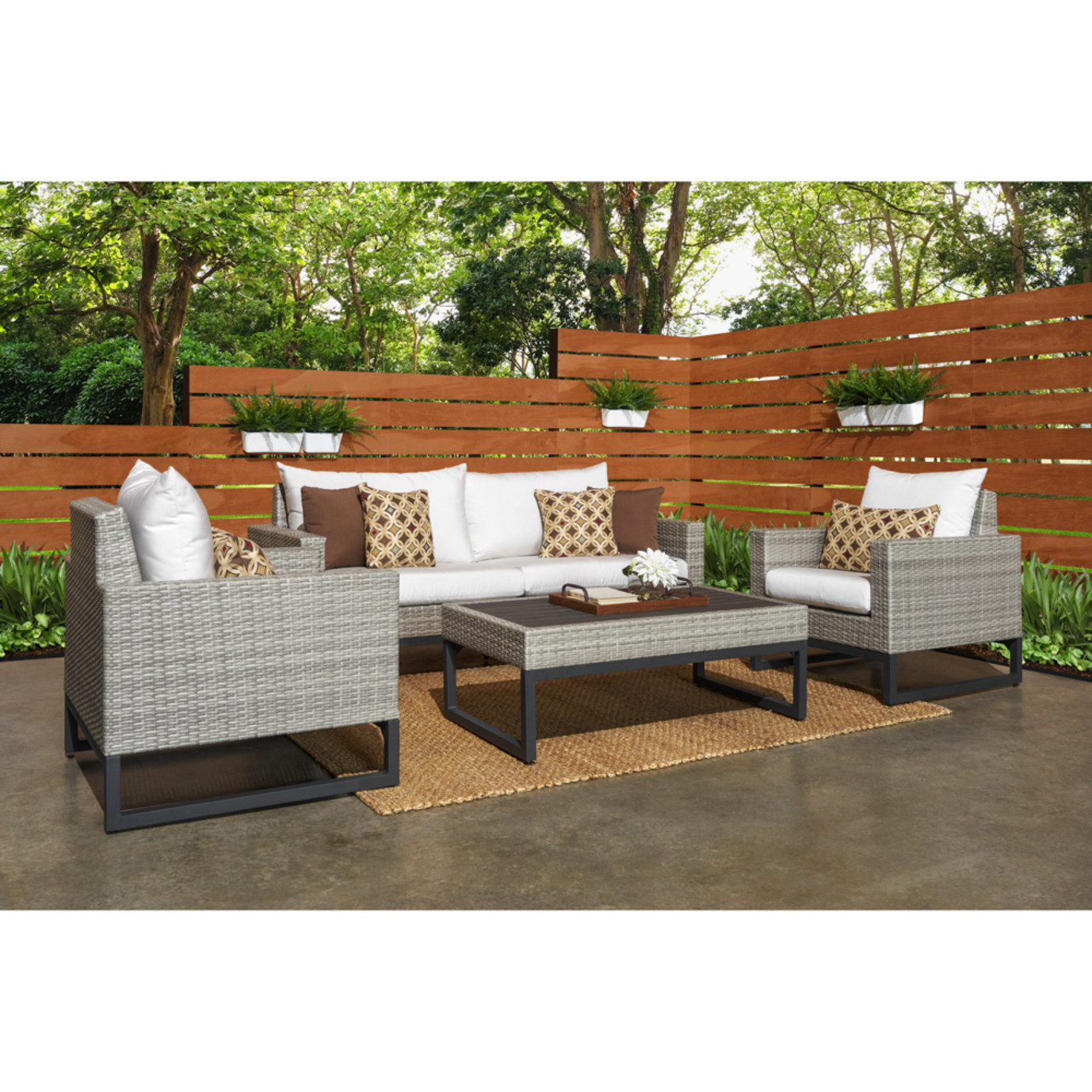 Milo™ Gray 4pc Seating Set - Moroccan Cream