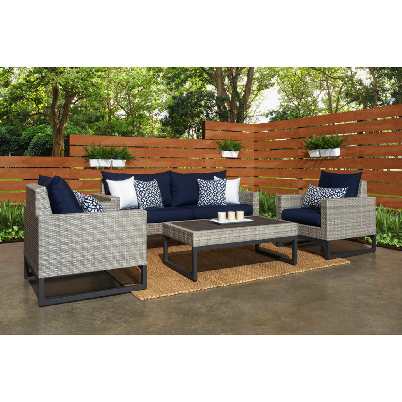 Milo™ Gray 4pc Seating Set - Navy Blue