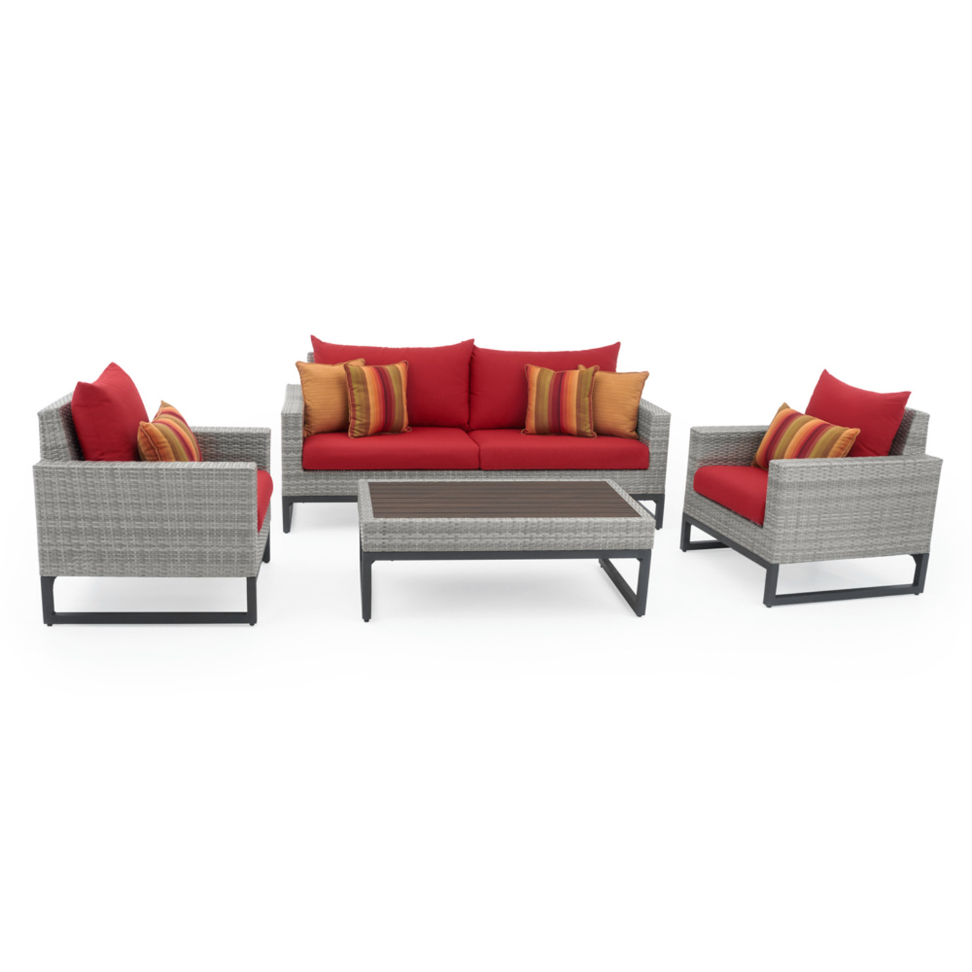 Milo™Gray 4 Piece Seating Set - Sunset Red