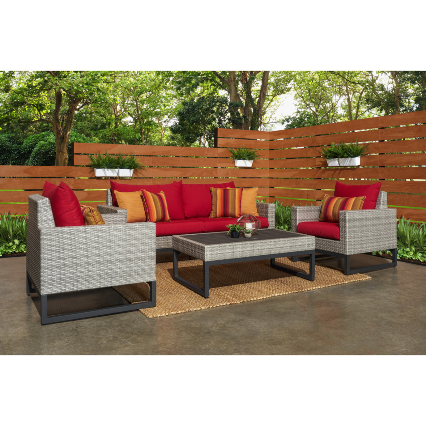 Milo™Gray 4pc Seating Set - Sunset Red