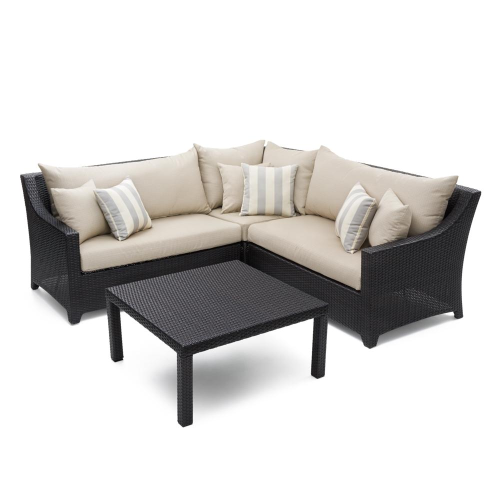 Deco 4pc Sectional & Table - Slate Grey