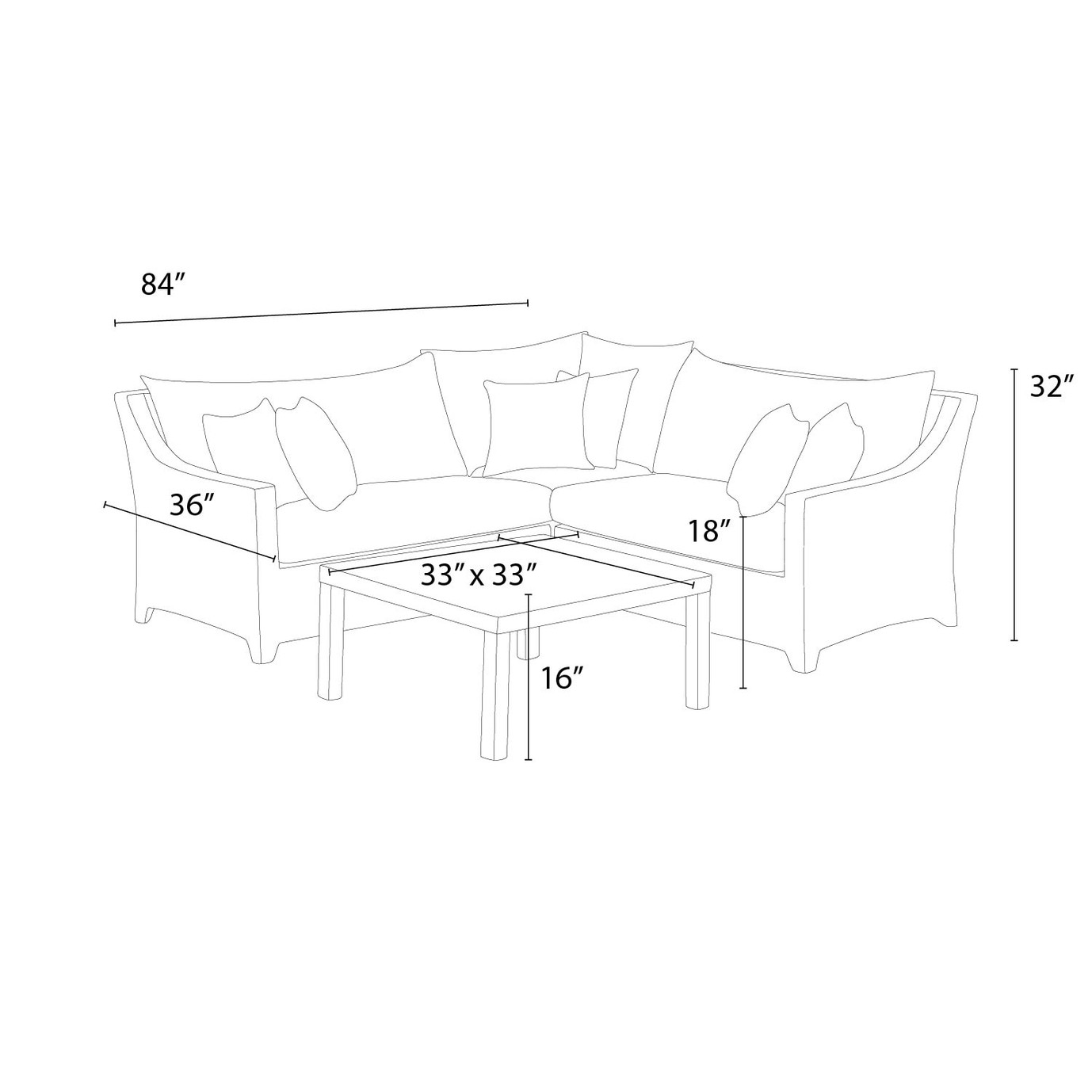 Deco™ 4pc Sectional and Table - Slate Grey