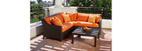 Deco™ 4 Piece Sectional and Table - Sunset Red
