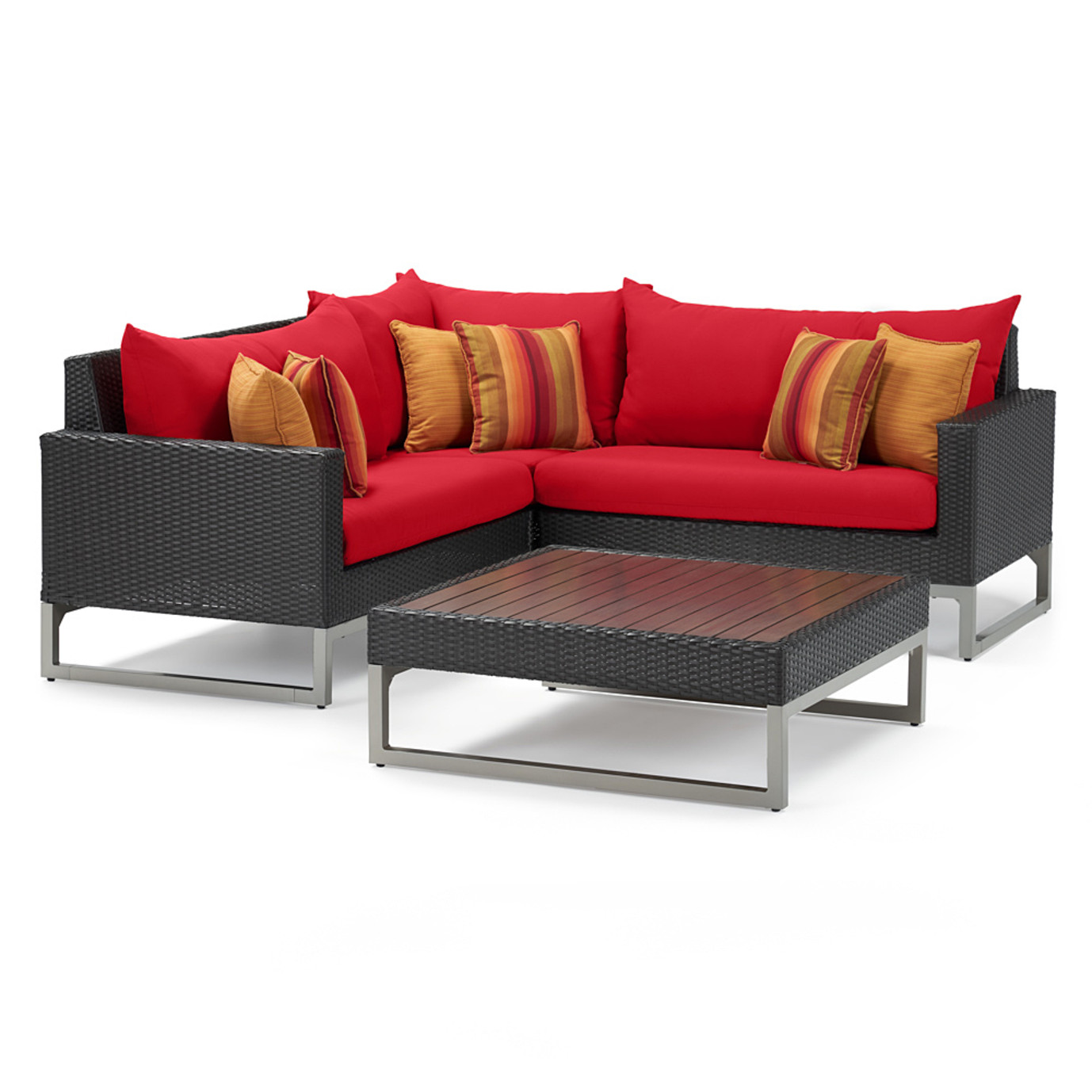 Milo Espresso 4 Piece Sectional - Sunset Red