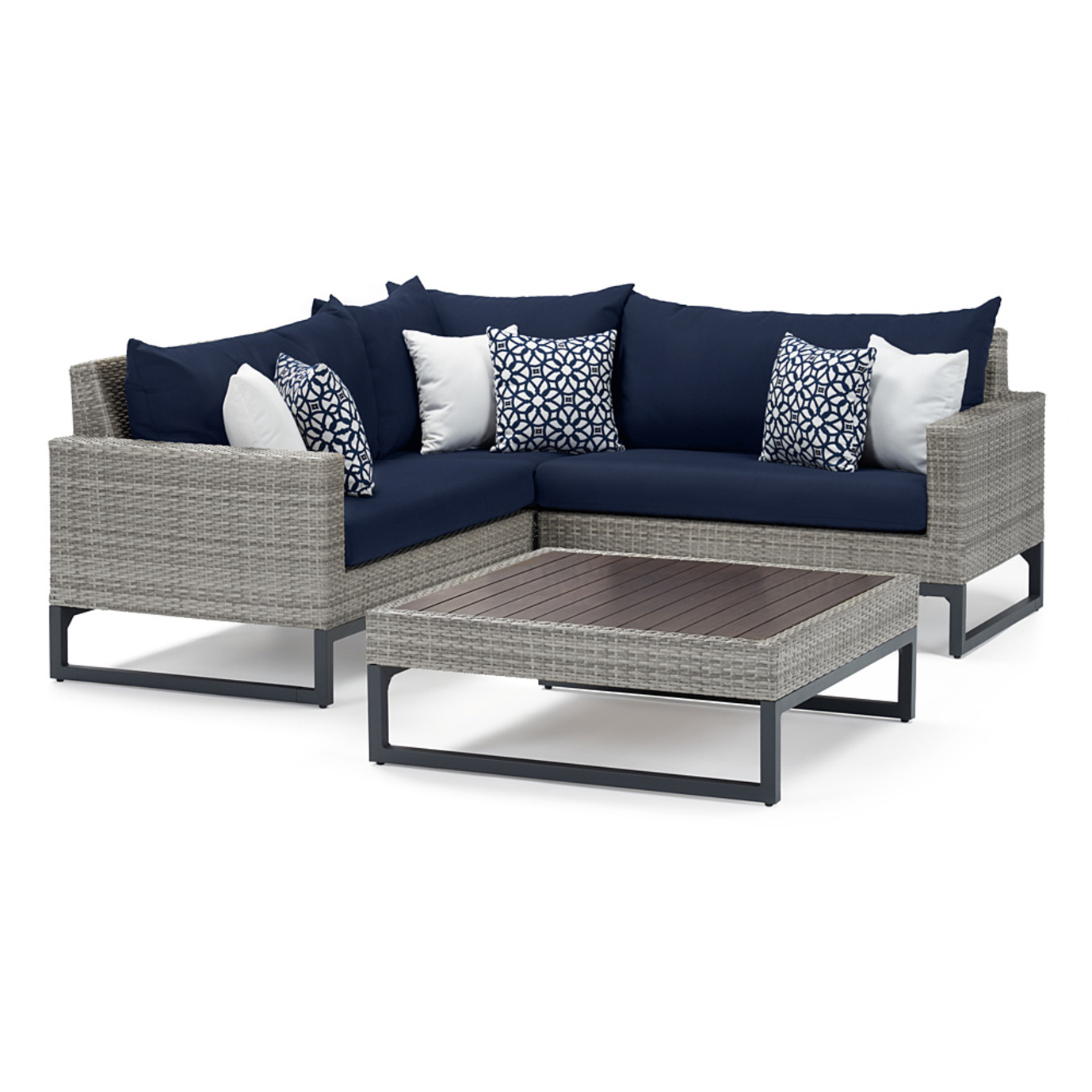 Milo Gray 4 Piece Sectional - Navy Blue