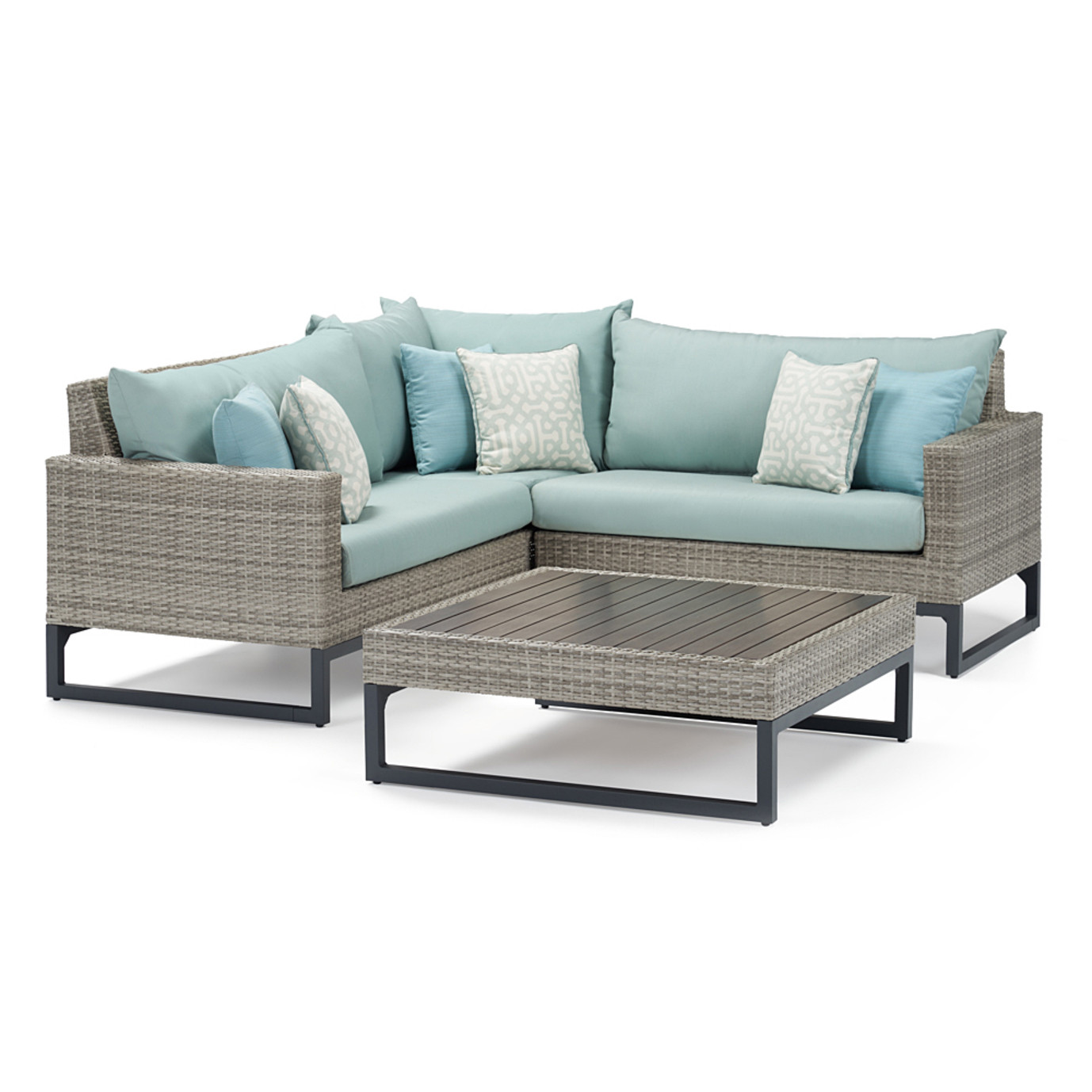 Milo Gray 4 Piece Sectional - Spa Blue