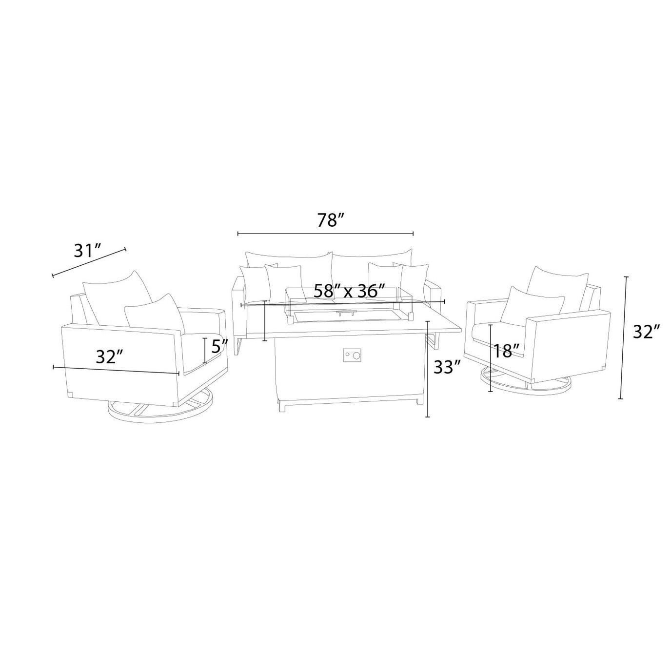 Milo™ Espresso 4pc Motion Fire Set - Navy Blue