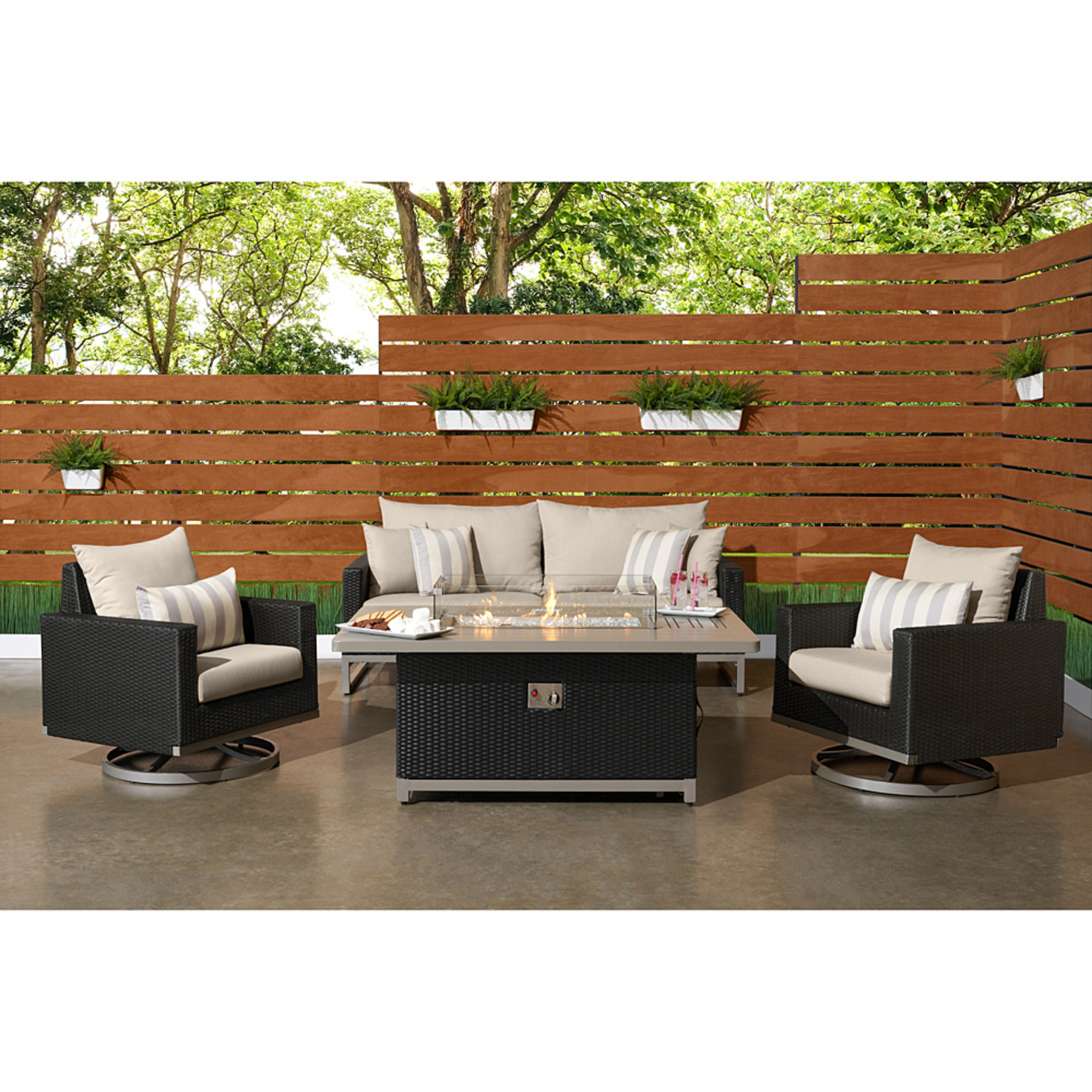 Milo™ Espresso 4 Piece Motion Fire Set - Slate Gray