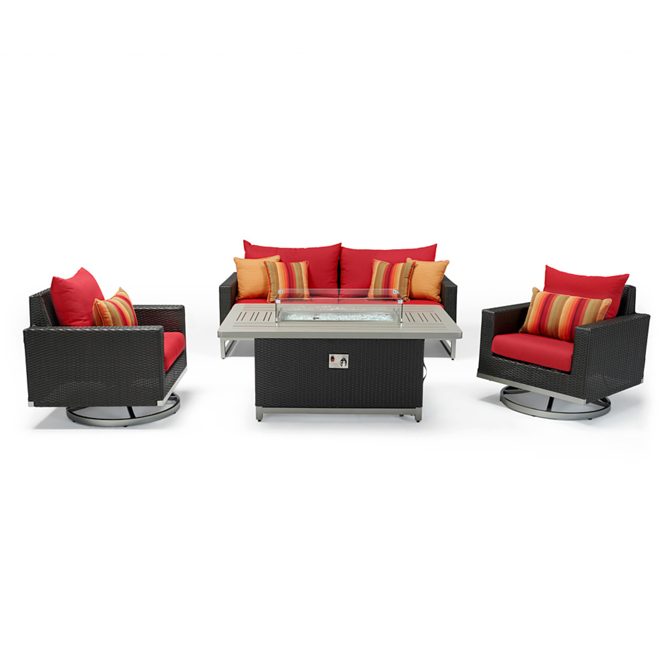 Milo™ Espresso 4 Piece Motion Fire Set - Sunset Red
