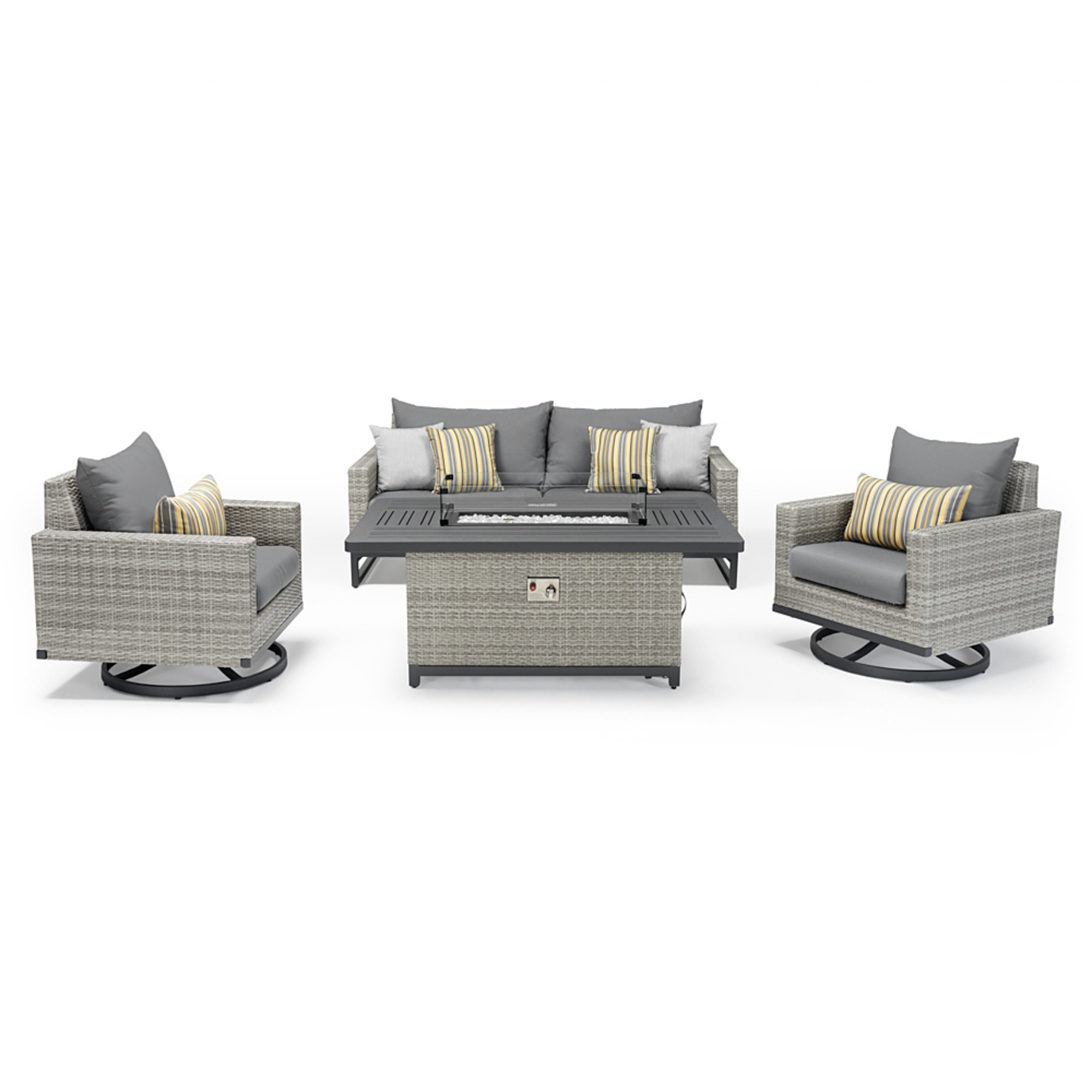 Milo™ Gray 4pc Motion Fire Set - Charcoal Gray