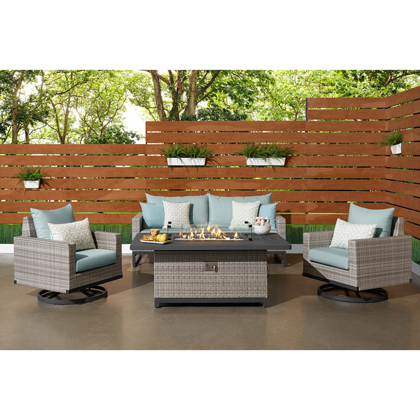 Milo™ 4pc Gray Motion Fire Set - Spa Blue