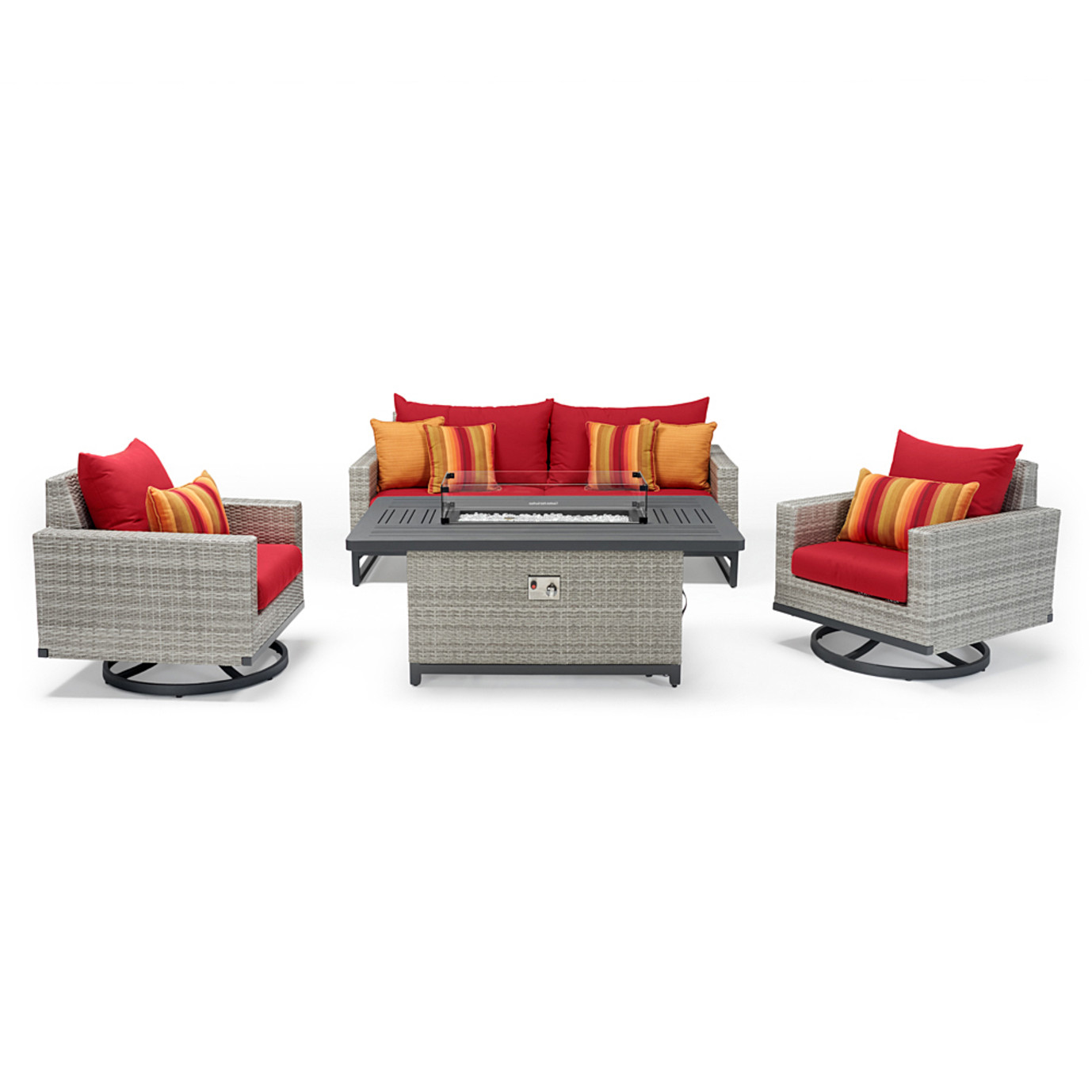 Milo™ Gray 4pc Motion Fire Set - Sunset Red
