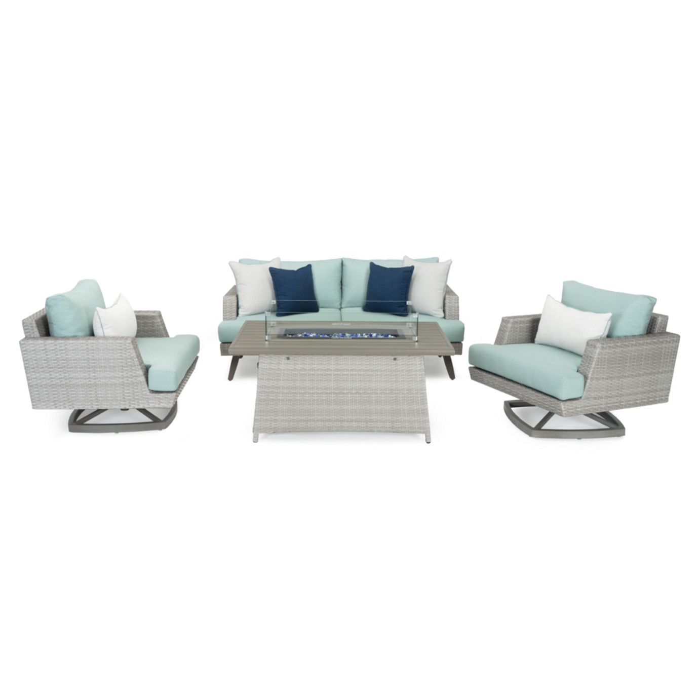 Portofino® Casual 4 Piece Motion Fire Seating Set - Spa Blue