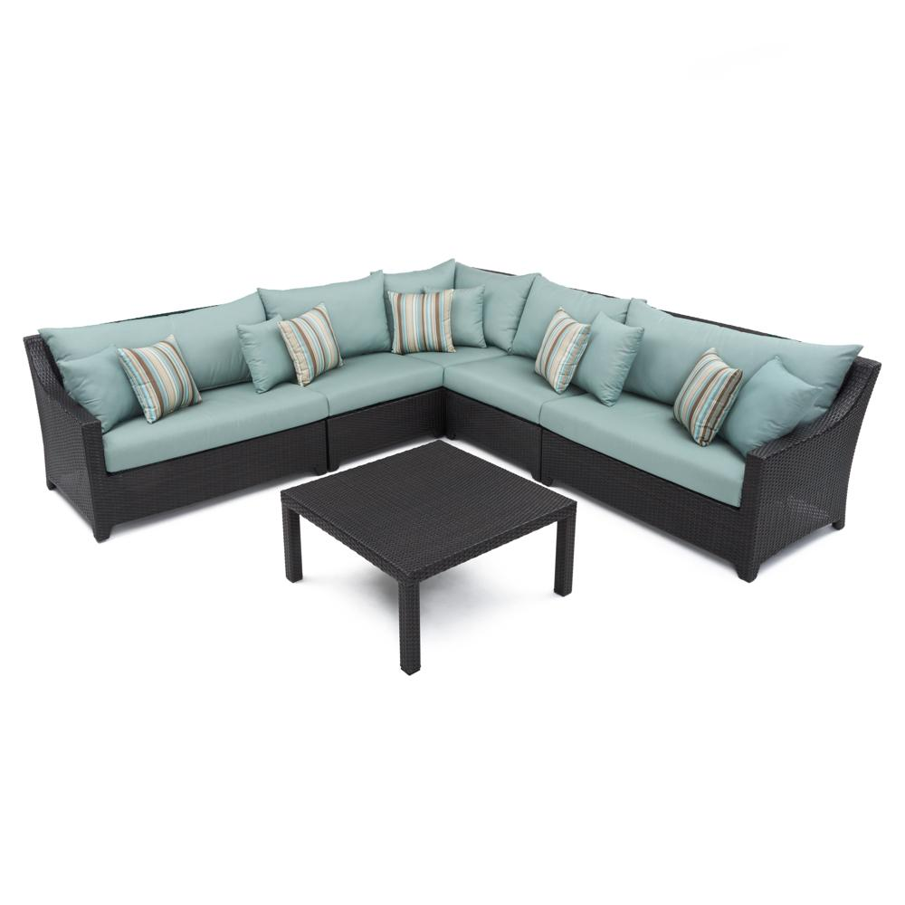 Deco 6pc Sectional & Table - Bliss Blue