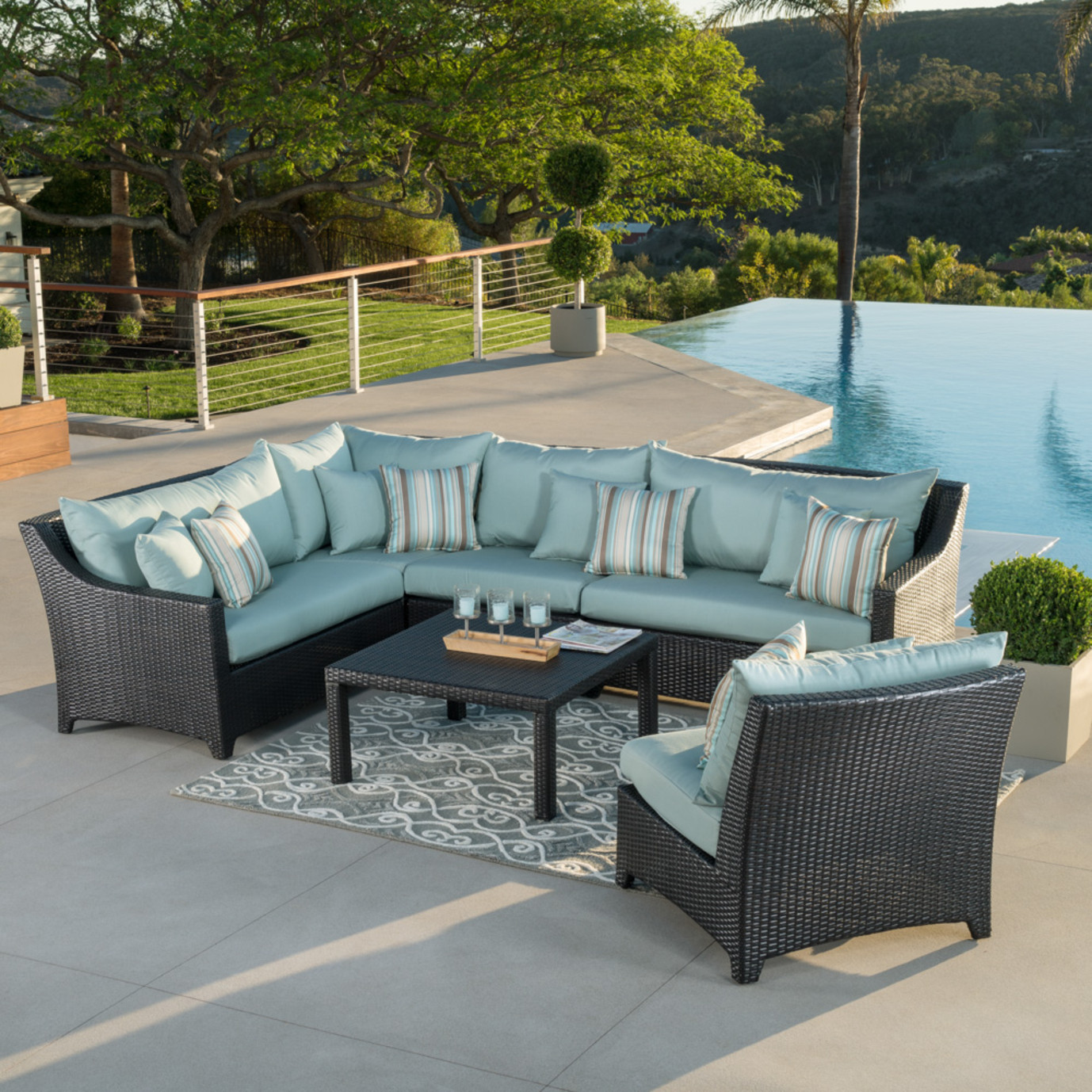 Deco 6pc Sectional And Table Bliss Blue Rst Brands