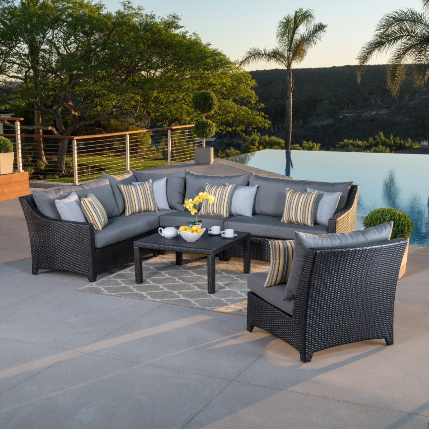 Deco™ 6pc Sectional and Table - Charcoal Grey