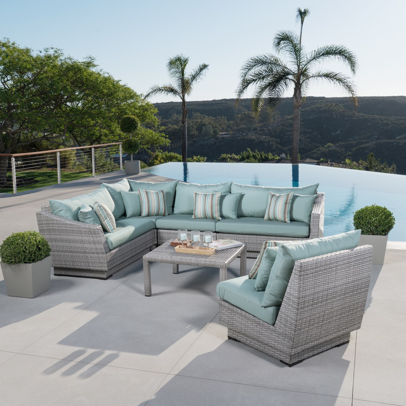 Cannes™ 6pc Sectional & Table - Bliss Blue
