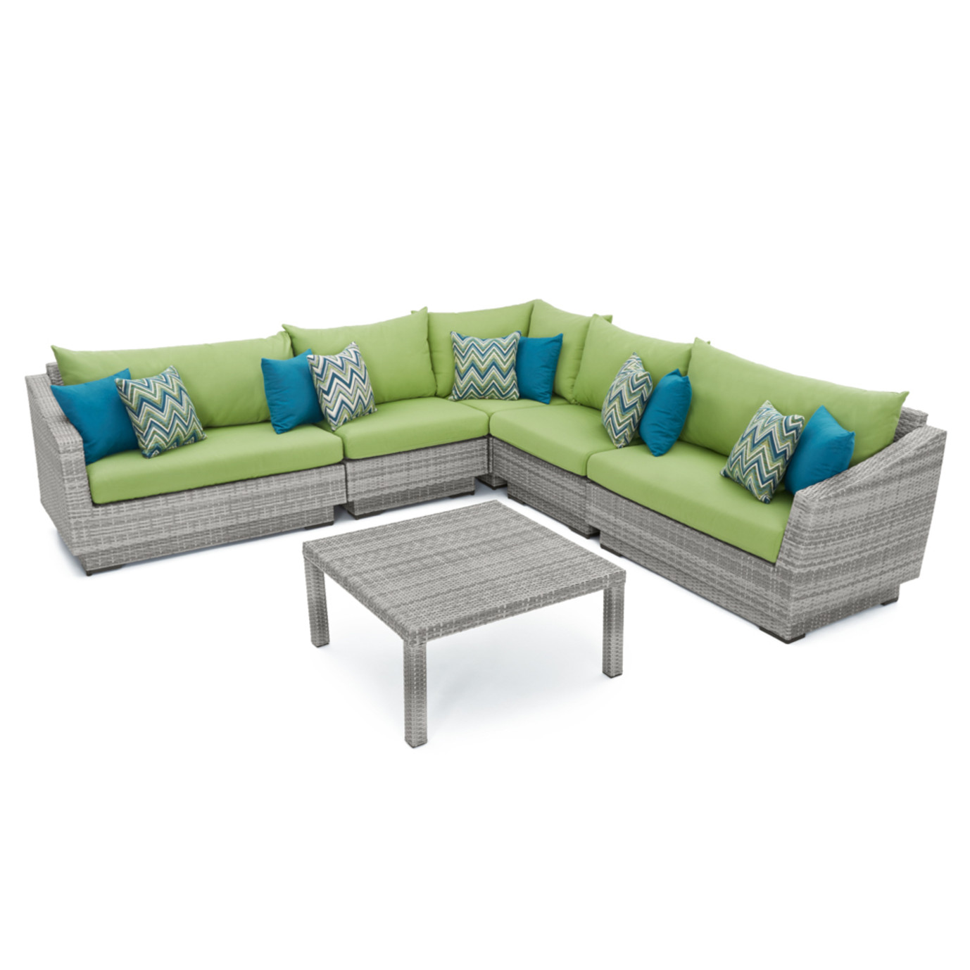 Cannes™ 6pc Sectional & Table - Ginkgo Green