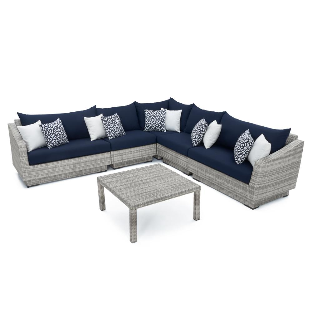 Cannes 6pc Sectional & Table - Navy Blue