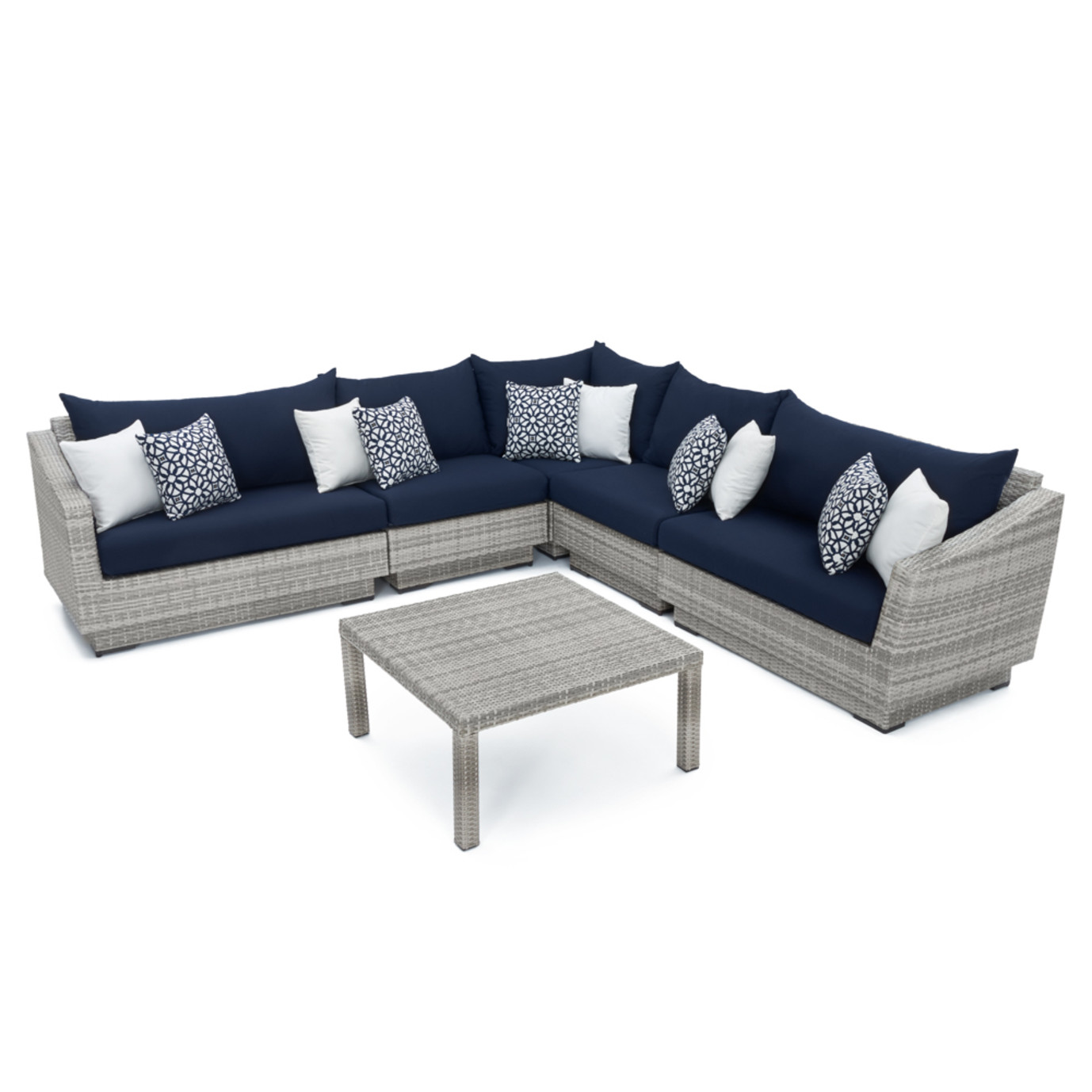 Cannes™ 6 Piece Sectional & Table - Navy Blue
