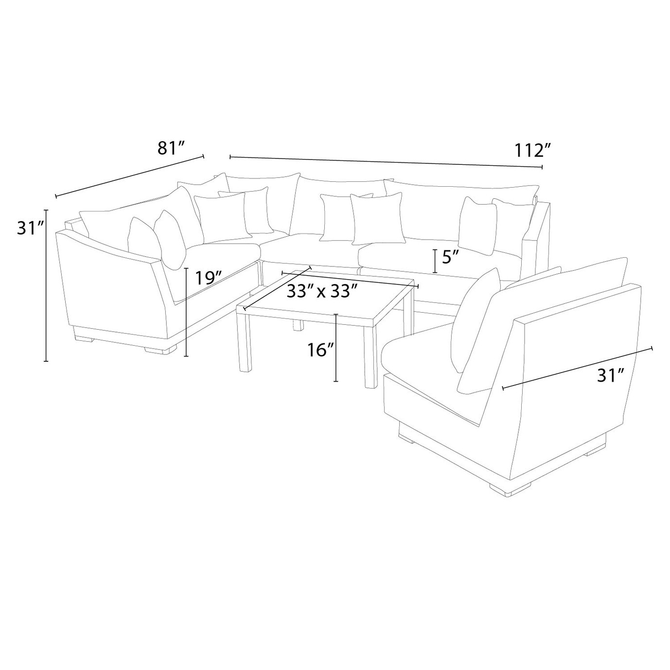 Cannes™ 6pc Sectional & Table - Slate Gray