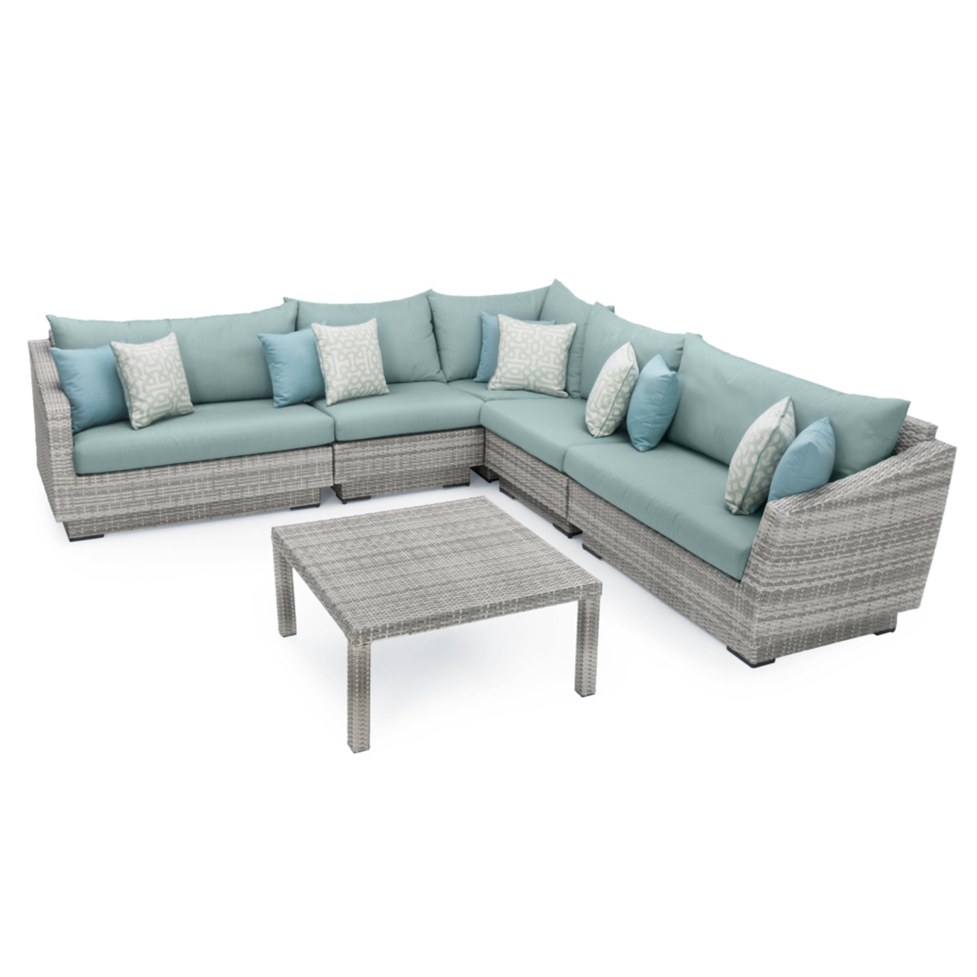 Cannes™ 6 Piece Sectional & Table - Spa Blue
