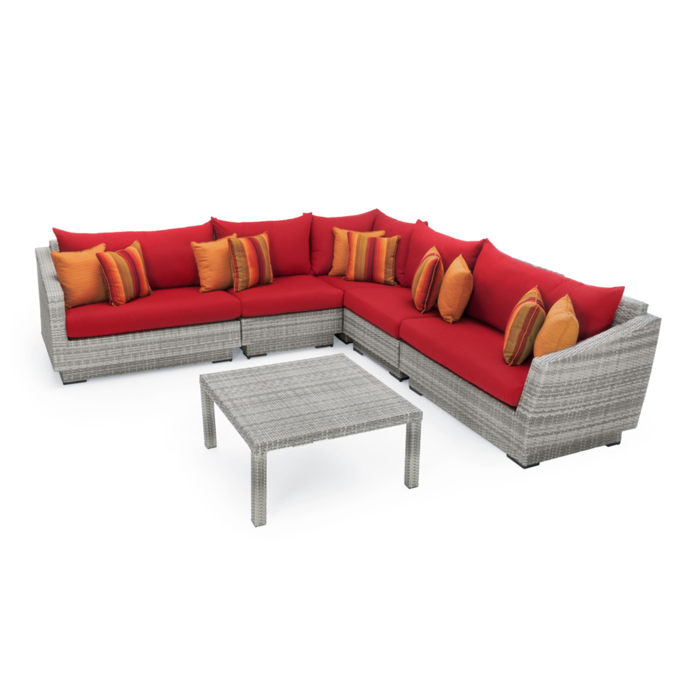 Cannes™ 6pc Sectional & Table - Sunset Red