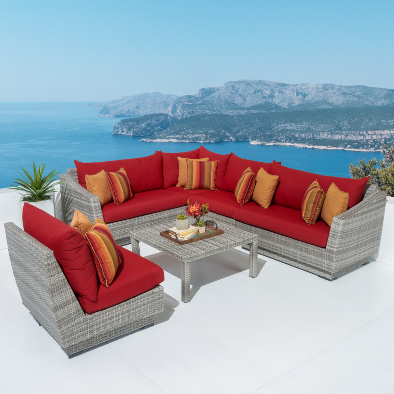 Cannes™ 6 Piece Sectional & Table - Sunset Red