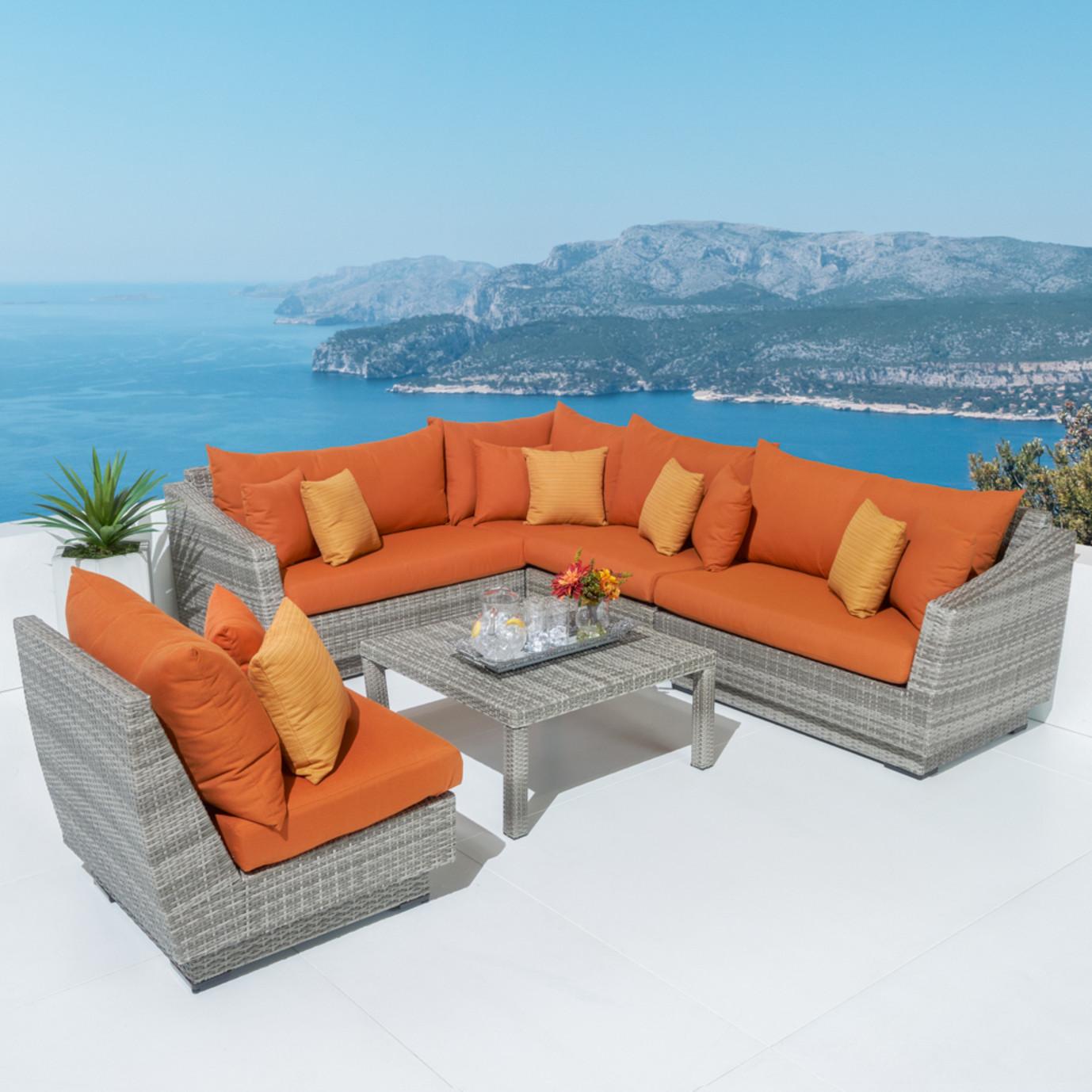 Cannes™ 6 Piece Sectional & Table - Tikka Orange